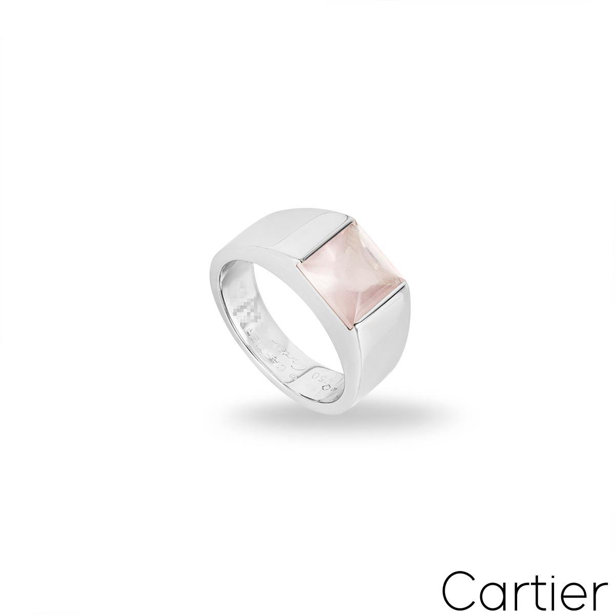 Cartier White Gold Rose Quartz Tank Ring